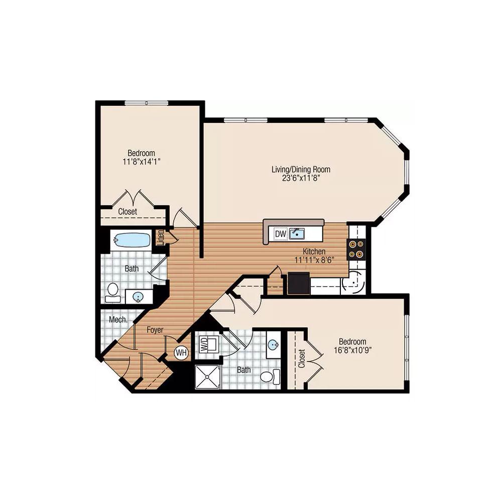 Aster 2 Bedroom | 2 Bath $1,775