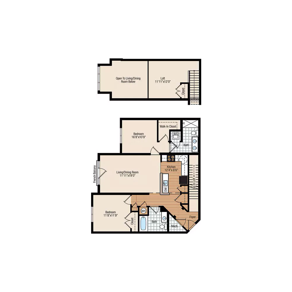 Monarch 2 Bedroom | 2 Bathroom $Call For Pricing