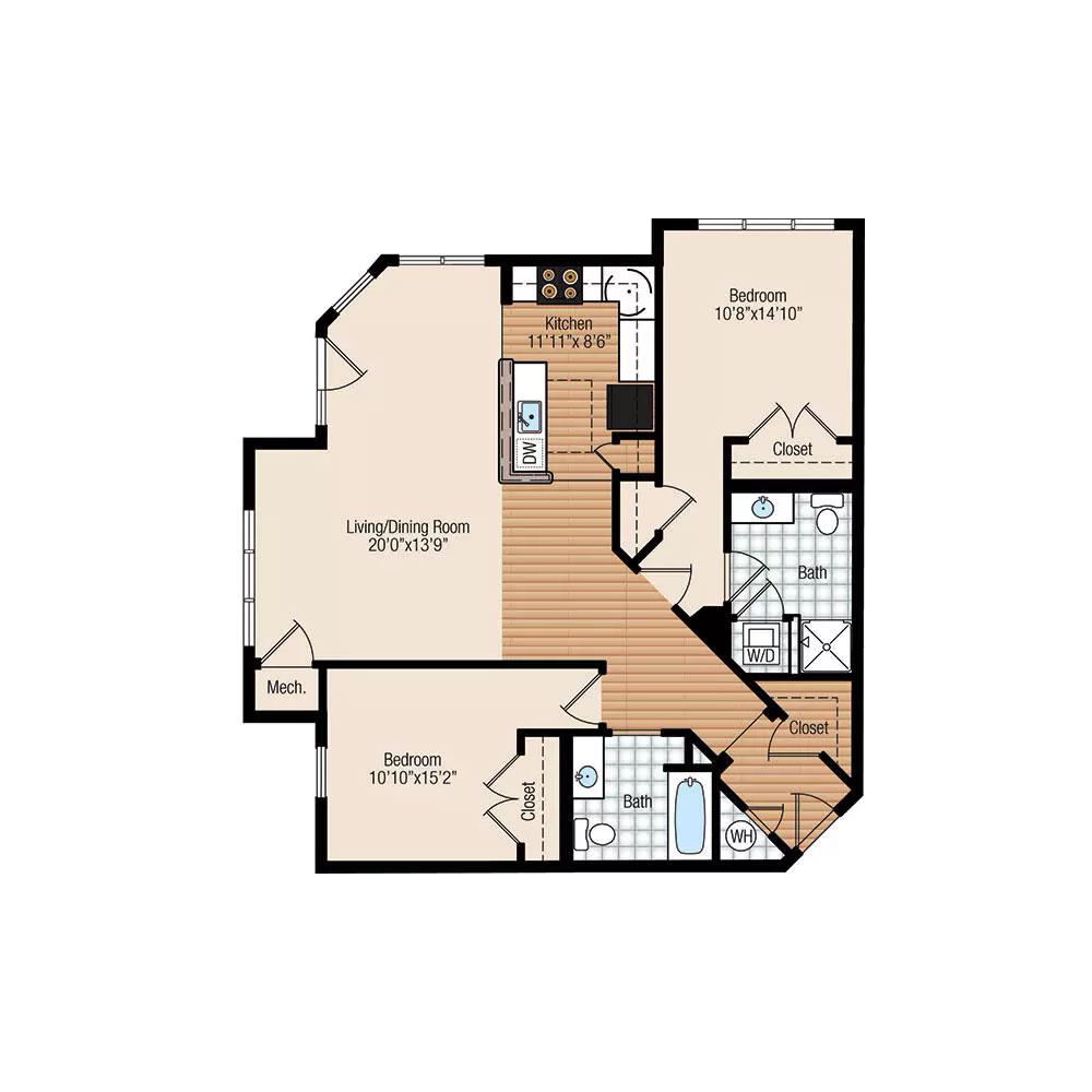 Willow 2 Bedroom | 2 Bathroom $1,775